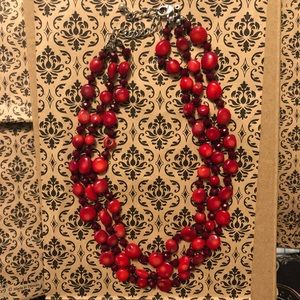 3 Strand Red Stone Necklace